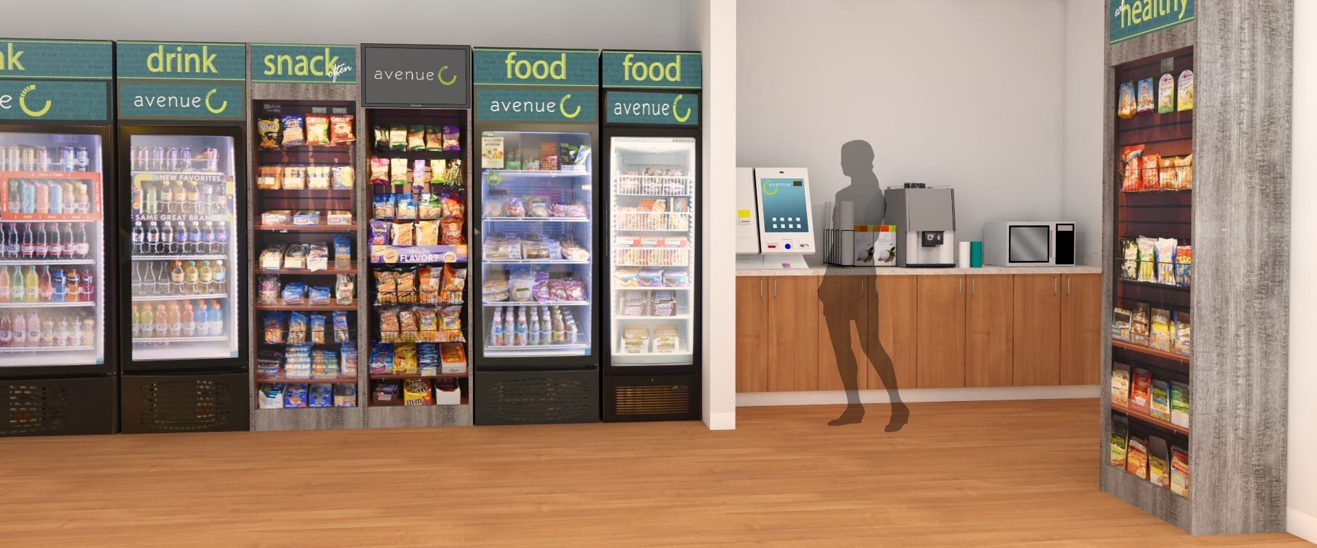 MicroMarket that includes two fully stocked beverage coolers and three vertical chip racks with self service touch screen checkout device